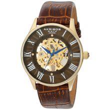 Akribos Xxiv AK499YG Mens Brown Dial Analog Mechanical Watch with Calfskin Strap