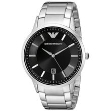 Armani AR2457 Mens Black Dial Analog Quartz Watch with Stainless Steel Strap