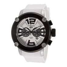 Mulco MW2-6263-015 Mens White Dial Analog Quartz Watch with Silicone Strap