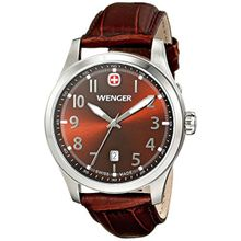 Wenger 01.0541.119 Mens Brown Dial Analog Quartz Watch with Leather Strap