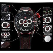 Shark SH084 Mens Black Dial Analog Quartz Watch with Leather Strap