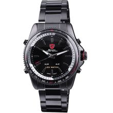 Shark SH001 Mens Black Dial Analog Quartz Watch with Stainless Steel Strap