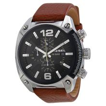 Diesel DZ4296 Mens Black Dial Analog Quartz Leather Strap Watch