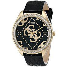 Women's Guess Black & Gold Tone Logo Watch U0473L2