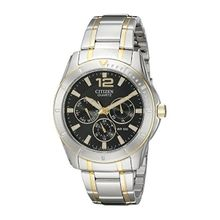 Citizen AG8304-51E Mens Black Dial Quartz Watch with Stainless Steel Strap