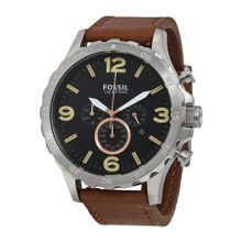 Fossil JR1475 Mens Black Dial Analog Quartz Watch with Leather Strap