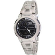 Casio AQF102WD-1BV Mens Black Dial Dual Quartz Watch with Stainless Steel Strap