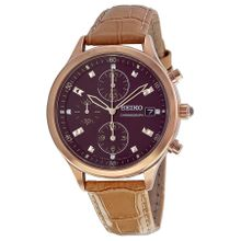 Seiko SNDX04 Womens Brown Dial Analog Quartz Watch with Leather Strap