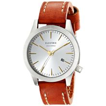 Electric EW0080050024 Mens Silver Dial Analog Quartz Watch with Leather Strap