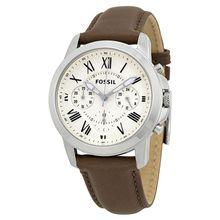 Fossil Grant FS4839 Grant Mens White Dial Analog Quartz Leather Strap Watch