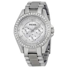Fossil ES3202 Riley Womens Silver Dial Analog Quartz Stainless Steel Watch