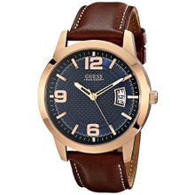 Men's Guess Brown Leather Strap Watch U0494G2