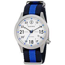 Electric EW0010020015 Mens White Dial Analog Quartz Watch with Nylon Strap