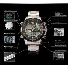 Shark SH048 Mens Black Dial Analog Quartz Watch with Stainless Steel Strap