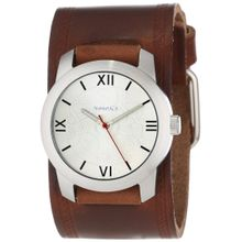 Nemesis BHST068S Mens Silver Dial Analog Quartz Watch with Leather Strap