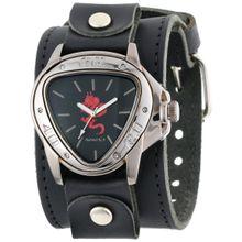 Nemesis LBB928R Mens Black Dial Analog Quartz Watch with Leather Strap