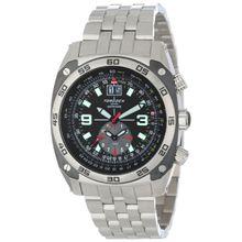 Torgoen T07201 Mens Black Dial Analog Quartz Watch with Stainless Steel Strap
