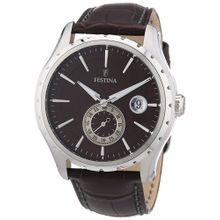 Festina F16486/7 Mens Brown Dial Analog Quartz Watch with Leather Strap