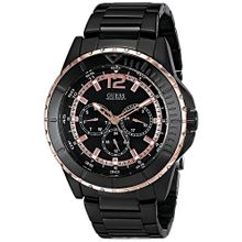 GUESS Mens U0478G3 Black Ionic Plated Multi-Function Analog Watch with Rose Gold-Tone Accents