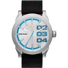 Diesel DZ1676 Mens Silver Dial Analog Quartz Watch with Leather Strap