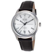 AccuSwiss Bulova 63B176 Mens Murren Automatic Black Genuine Leather Silver-Tone Dial watch