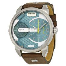 Diesel DZ7321 Mens Blue Dial Analog Quartz Watch with Leather Strap