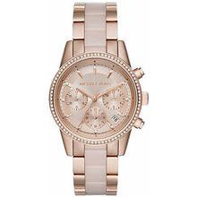 Women's Michael Kors Glitz Rose Gold Chronograph Crystalized Watch MK6307