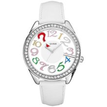 Guess U11066L1 Womens White Dial Quartz Watch with Leather Strap
