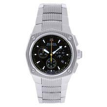 Bulova 63B111 Mens Black Dial Analog Quartz Watch with Stainless Steel Strap