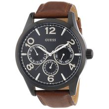 Guess W0493G3 Mens Black Dial Analog Quartz Watch with Leather Strap