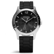 Coach W6000 Mens Black Dial Analog Automatic Watch with Silicone Strap