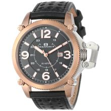 Oceanaut OC4111 Mens Black Dial Analog Quartz Watch with Synthetic Leather Strap