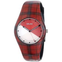 Noon 01-037 Womens Red Dial Analog Quartz Watch with Plastic Strap