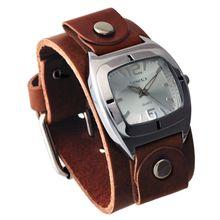 Nemesis BGB090S Mens Silver Dial Analog Quartz Watch with Leather Strap