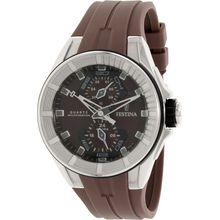 Festina F16611/2 Mens Brown Dial Analog Quartz Watch with Silicone Strap