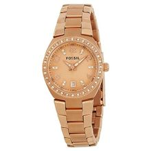 Fossil AM4508 Womens Pink Dial Analog Quartz Watch with Stainless Steel Strap