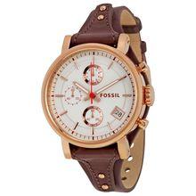 Fossil ES3616 Original Boyfriend Womens White Dial Analog Quartz Leather Strap Watch