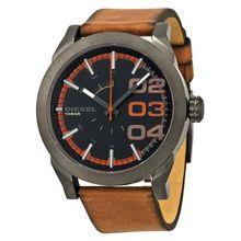 Diesel DZ1680 Mens Grey Dial Analog Quartz Watch with Leather Strap
