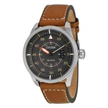 Citizen Avion AW1361-10H Mens Grey Dial Analog Watch with Leather Strap