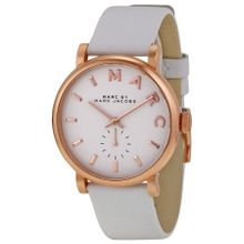 Marc Jacobs MBM1283 Womens White Dial Analog Quartz Watch with Leather Strap