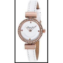 Kenneth Cole 10022302 Womens Classic Rose Gold Stainless Steel Case White Leather Strap Round Watch