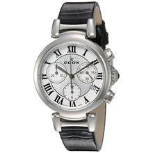Edox 10220 3C AR Womens Silver Dial Analog Quartz with Leather Strap Watch