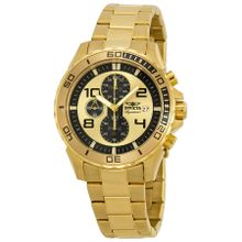Invicta 7472 Mens Gold Dial Analog Quartz Watch with Stainless Steel Strap