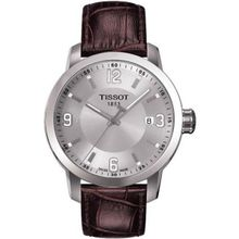 Tissot PRC 200 Silver Dial Brown Leather Sport T055.410.16.037.00 Mens Watch