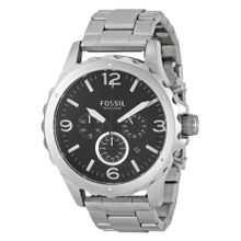 Fossil JR1468 Mens Black Dial Analog Quartz Watch with Stainless Steel Strap