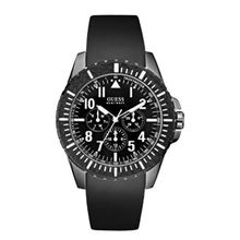 Guess U96017G1 Mens Black Dial Quartz Watch with Rubber Strap