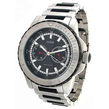 Guess U15021G1 Mens Black Dial Analog Quartz Watch with Stainless Steel Strap