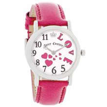 Juicy Couture 1900588 Womens White Dial Analog Quartz Watch with Leather Strap