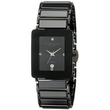 Akribos Xxiv AK521BLK Mens Black Dial Analog Quartz Watch with Ceramic Strap