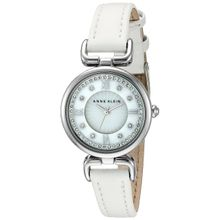 Anne Klein Women's Quartz Metal and Leather Dress Watch, Color:White (Model: AK/2383MPWT)